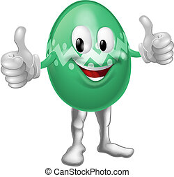 Easter Egg Cartoon Man - An illustration of a happy fun...
