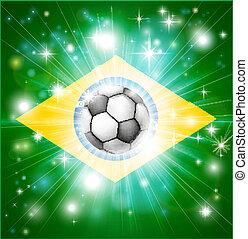 Brazil soccer flag - Flag of Brazil soccer background with...