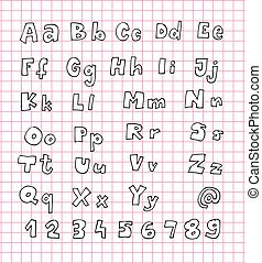 Hand Drawn Alphabet ABC with white fill on pink grid...