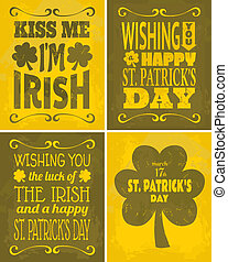 St. Patrick's Day Cards Set - A set of four retro St....