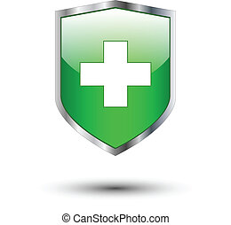 Green cross on shield - Green cross on protective shield