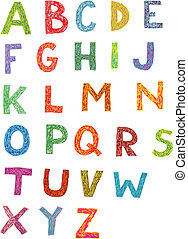 Colourful Woodcut Font Set of hand drawn capital letters...