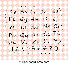Hand Drawn Simple Alphabet ABC and numbers with shadows on...