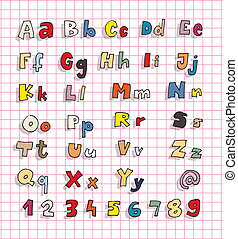 Hand Drawn Bold Simple Alphabet ABC in colours - Hand Drawn...