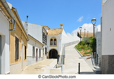 Sunny Spanish white town Montilla - The side street is...