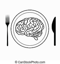 brain on the plate with fork and knife