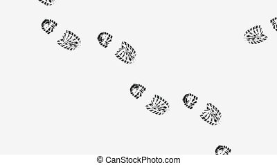 Footprints - Animated footprints on white background
