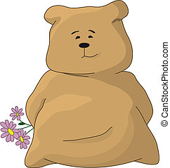 Teddy bear with a holiday flowers - Cartoon toy character...