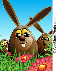 Three Easter eggs hidden in the grass - Illustration of...