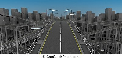 Freeway in the city - 3D Render of Freeway in the city