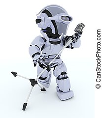 Robot singing into a retro Mic