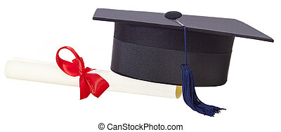 mortarboard and parchment certificate isolated on white...