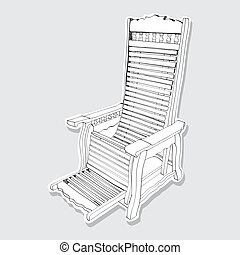 old wooden rocking chair - Hand drawn - The abstract of old...