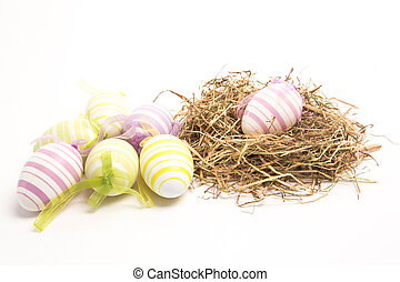 Easter eggs with straw