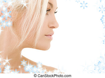sideview - bright sideview picture of lovely blonde with...