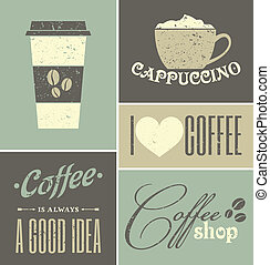 Vintage Coffee Collage - A set of retro design coffee...