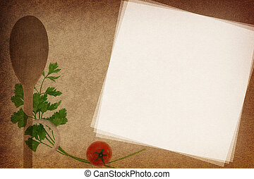 Recipe card. Wooden spoon and parsley on fabric texture