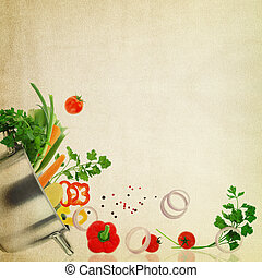 Recipe template Fresh vegetables on fabric texture