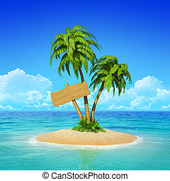 Wooden signpost on tropical island with palms.