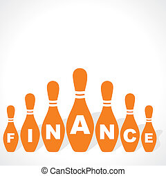 finance word on bowling pins stock vector