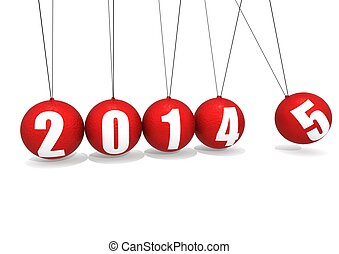 New year of 2015 - Rendered artwork with white background