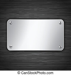 Metallic tablet attached with screws. Blank banner on dark...