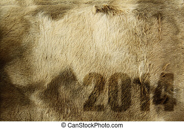 New year 2014 on fur texture