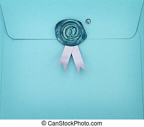 Blue envelope with e-mail symbol on sealing wax stamp