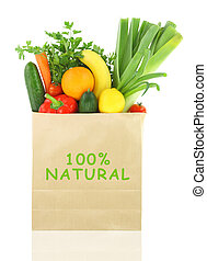 100 Percent Natural on a grocery bag full of vegetables and...
