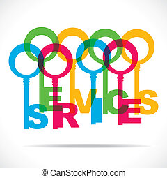 abstract word color key make service word stock vector