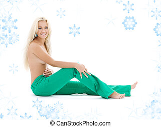 topless blonde in green jeans