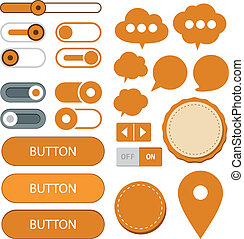 Flat web design elements. - Vector illustration of orange...