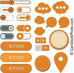 Flat web design elements. - Vector illustration of orange...