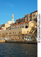 Ancient port Yaffo in solar December day