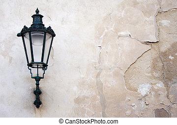 Classic Lantern - Lantern on a weathered wall.
