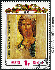 RUSSIA - 1992: shows The Saviour, by Andrei Rublev - RUSSIA...