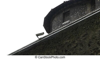 Detail of prison and CCTV cam. - La Sante prison. Paris,...