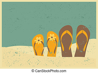 Flip flops on the Beach - Vintage style illustration of two...