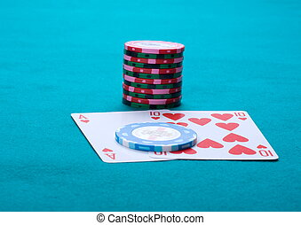 Black jack - Piles of counters and a Black jack on green...