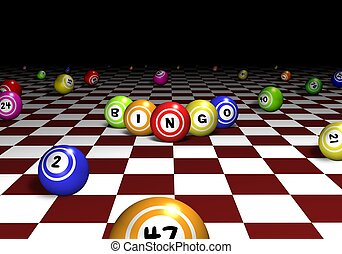 Bingo Perspective - Illustration of bingo balls over a red...