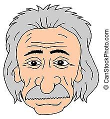 Einstein head - Isolated cartoon head of Albert Einstein