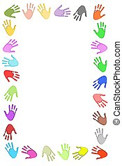 Handprint Frame - Illustrated frame made of colourful hand...