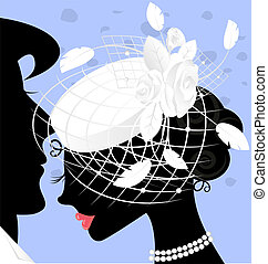 image of lady in white-veil hat - image of lady in white hat...