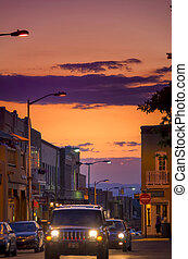 Downtown Santa Fe - Twilight view of a bustling downtown...