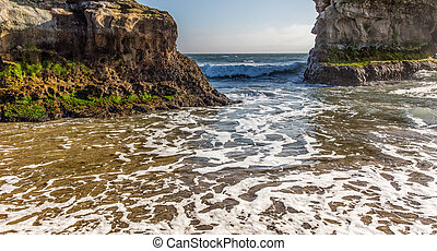 Waves at Natural Bridges State Beach - Arches at Natural...