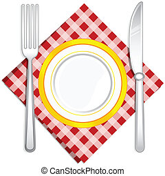 Fork and Knife with Plate - illustration of fork and spoon...
