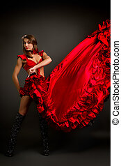 Close-up photo of the lady in gypsy costume dancing flamenco
