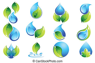 Water and Leaf Icon Set