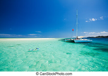 Snorkeling in shallow water off the catamaran - Snorkeling...