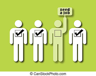 unemployment rate - symbol of unemployment rate: one person...